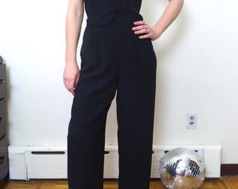90's black JUMPSUIT tuxedo style open back Sz S-M Sz 6