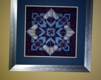 Evening Star - Needlework - Framed Art - Fiber Art