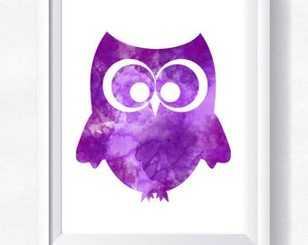 70%OFF Cute owl print, purple owl wall art owl watercolor toddler wall art, nursery printable, instant download, little owl printable poster
