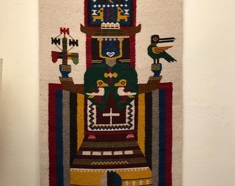 Equadorian Tapestry, Salasaka Tapestry, Salasaka, Wall Hanging Woven, Large Wall Tapestry, Southwestern Tapestry, Tribal Aztec Wall Decor,