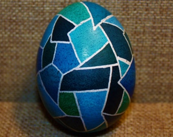 Blue Stained Glass Pysanky Egg