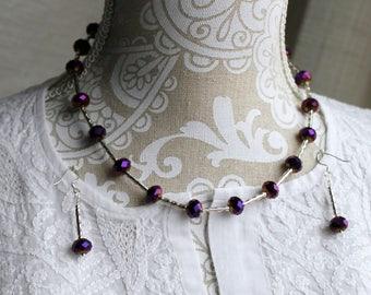 "Purple Fire-polished Czech Glass Bead Earrings and 17.5"" Necklace"
