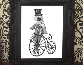 PRINT AND FRAME Crow skull man on penny farthing bike gothic victorian oddity dark