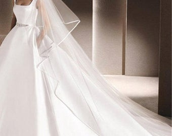 3m Long Tulle Cathedral Bridal Wedding Veil with Comb Two Layer Ribbon Edge Wedding Accessories