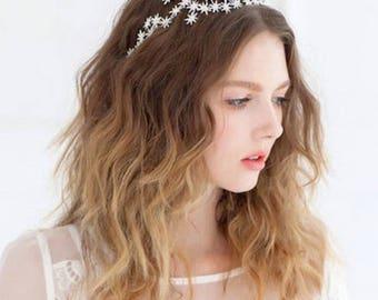 Bridal Wedding Silver or Gold Plated Rhinestone Crystal Star Tiara Hair Band Headband Crown
