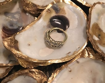 Free Shipping- 6 Gold Leafed Oyster Shells