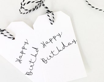 Happy Birthday Gift Tags, Gift Wrap Tags, Packaging, Black and White, Monochrome, Minimalist, Gift Labels, Hang Tags, Party Favor Tags