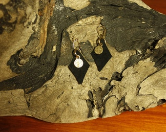 Black earrings of suede with gold pedants