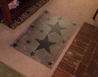 Primitive Door Mat Sized Star Floor cloth floorcloth