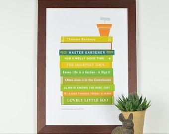 Gardener's Book Titles' Personalised Print