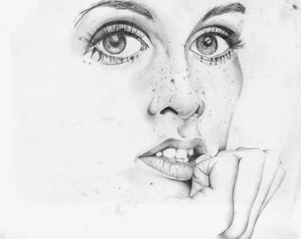 ORIGINAL Twiggy Pencil Drawing
