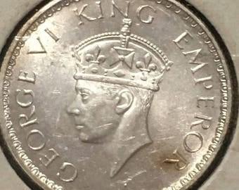 Silver British India Coin King George VI Half Rupee