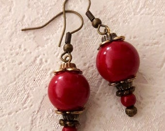 Red earrings 165E