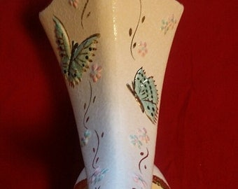 Vintage Hull Butterfly Vase 1956 B12 with Gold Trim