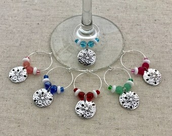 Sand Dollar Wine Charms