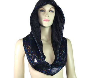Reversible Black Shattered Glass & Black Crushed Velvet Holographic Rave Hood - Festival Hood - Hologram - Spirit Hood