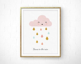 Scandinavian Print, Rain Drops Cloud, Cloud Nursery, Cloud Print, Nursery Cloud, Baby Shower Gift, Rain drops Nursery, Minimalist Nursery