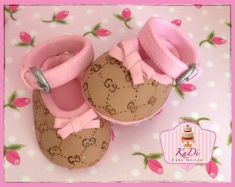 Gucci baby booties shoes Cake Topper fondant