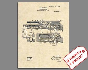 Patent Prints - Stevens 520 Shotgun Patent Art - Vintage Hunting Art Prints - Hunting Art Patent Print - Hunting Print Trap Shooting -  315