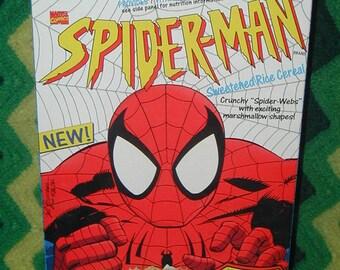 Spiderman cereal box with original manufactures coupon super hero comic book cartoon