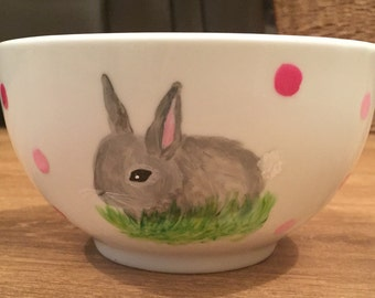 Easter Gift-Bunny Personalised Polka Dot Cereal Bowl.Girl/Boy
