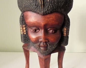 Tribal African Standing Wooden Hand Carved  Mask,Sculpture /Decorative Ethnographic Mask/ Wall  Hangings/Mask/Africa/Hand Made