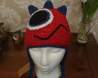 Crochet monster hat in red and blue age 1-3yrs