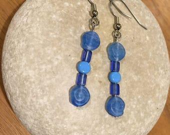 Light blue swirl earrings