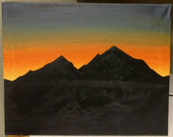 Sunrise Mountain Silhouette - Handpainted Original