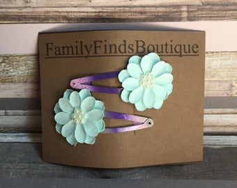Flower Snap Hair Clips Blue Purple Pink Hair Accessories Ombre Gifts For Her