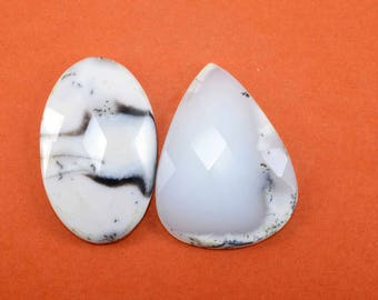 Natural Dendrite Faceted Flatback Oval,Pear shape loose semi precious gemstone cabochon  wholesale gemstone GE-280
