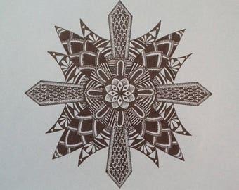 Handmade mandala 21cm x 29.7cm (A4) - 8.2in x 11.6in / meditation art / handmade ink drawing