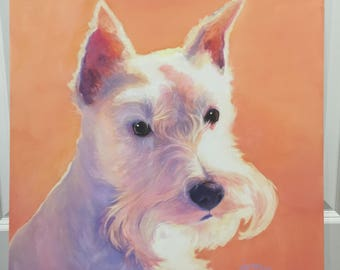 Trudy - oil painting miniature schnauzer portrait