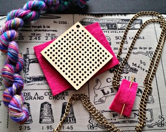cross stitch pendant, cross stitch kit, wooden pendant, heart necklace, DIY kit, adult craft kit, jewellery making kit, hand dyed yarn
