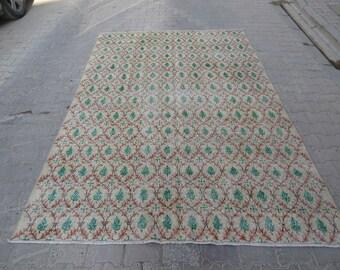 6.3x9.5 Ft Vintage floral Turkish art deco rug