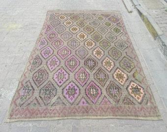 5.9x9 Ft One of a kind vintage embroidered Turkish kilim rug