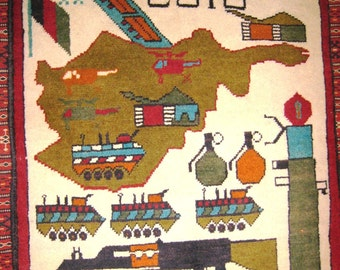 AFGHAN WAR RUG Tribal Ak47 Kalashnikov Gun Tank Battle 2x3 Vintage Carpet  Combat Pakistani Green Map