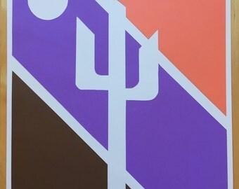 Cactus Paper Art, Orange/Purple/Brown Cactus, Saguaro Art, Sonoran Art, Hand Cut Paper