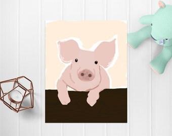 Pig Wall Art, Digital Art, Printable Wall Art