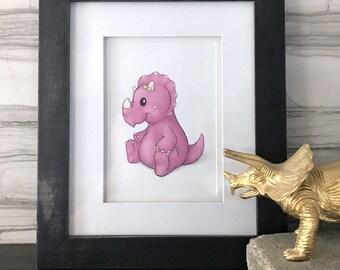 Baby Dino w/ Yellow Bow Print