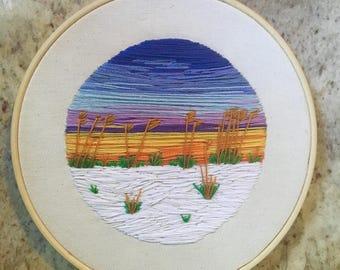 Florida Beach Sunset - Handmade Embroidery Landscape