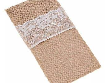 10 Pieces/Lot Natural Jute Lace Pockets Rustic Wedding Tableware Packaging Fork & Knife Burlap Holder Cutlery Pocket