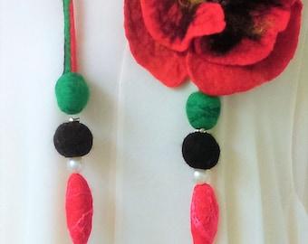 FELTED FLOWER .Wool Jewelry Necklace.Poppy.