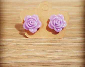 Lavender flower stud earrings