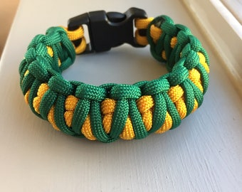 Paracord Bracelet King Cobra that's Kelly Green and Goldenrod for Boys/Men