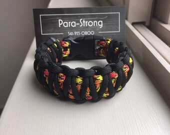 Paracord King Cobra bracelet Colors Black and Marines gift for Veterans