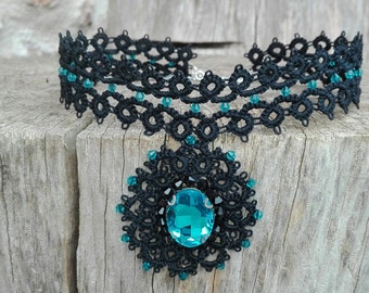 Gothic Choker and bracelet black sexy lace Tatting Tatted with Locket pendant beads light blue