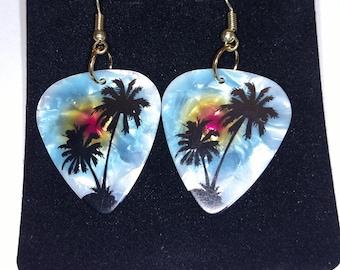 Palm Tree Guitar Pick Earrings