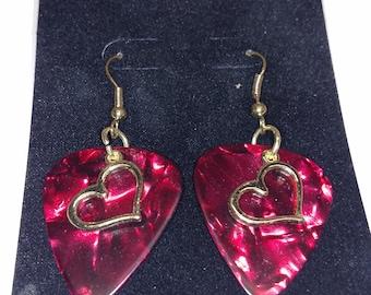 Open Heart Guitar Pick Earrings