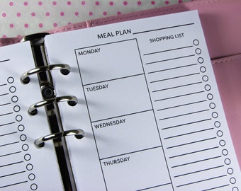 Meal Planner Printed Personal Planner Inserts, Shopping List Planner Pages, Menu Planner Refills, UK, #HSU07